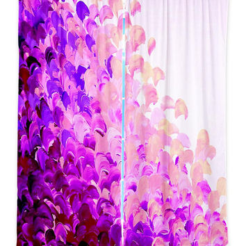 CREATION in COLOR, PURPLE Lavender Splash Art Window Curtains Multiple Sizes Abstract Ombre Decor Bedroom Kitchen Lined Unlined Woven Fabric
