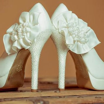 Ivory Wedding Shoes, swarovski bridal shoes, Bridal and Prom High Heels