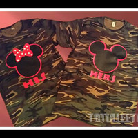 Free US Shipping  Fast Processing Matching His and Hers Camoflauge Couples Tshirts that is inspired by Disney Mickey and Minnie