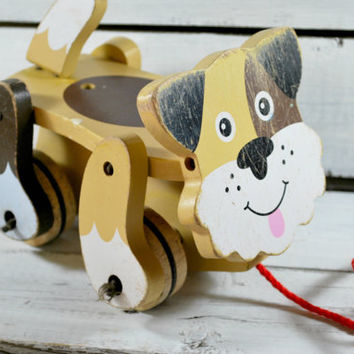 Wood Pull Dog Toy on Wheels for Kids , Melissa Doug Doggie