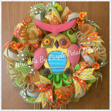 Spring Wreath, Burlap Wreath, Owl Wreath, Burlap Owl Wreath, Summer Wreath, Spring Owl Wreath, Spring Burlap Wreath, Summer Burlap Wreath
