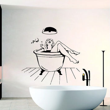 Wall Decal Vinyl Sticker Elegant Women in Bathroom Art Design Room Nice Picture Decor Hall Wall Chu1104