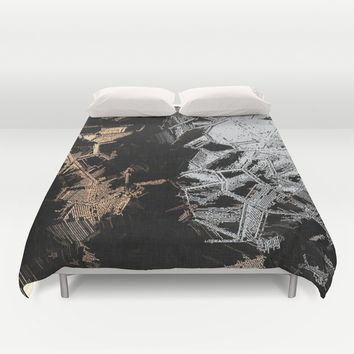 Gold and Silver Crystals Duvet Cover by Peter Reiss