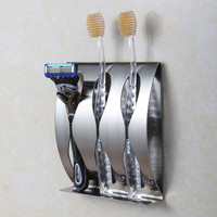 Stainless steel wall mount toothbrush holder 3 position Self-adhesive tooth brush shelf Organizer bathroom accessories