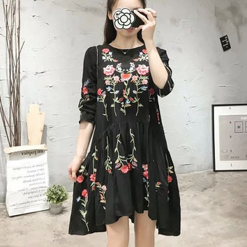 Summer Heavy Work Embroidery Bohemia Plus Size Skirt One Piece Dress [8511460103]