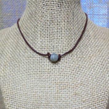 Grey Matte Labradorite Semi-Precious Stone Genuine Leather Cord Choker Necklace Pearl Slip Knot Closure