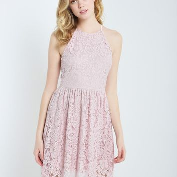 Scallop Hem Lace Fit and Flare Dress