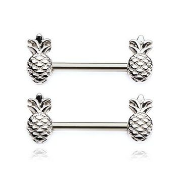 A Pair of Tropical Pineapple Nipple Barbell