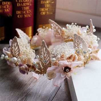 Handmade Mermaid Crown Wreaths Wedding Prom Bride Hair Jewelry Accessories Flower Princess Girl Birthday Tiara Hair Decoration