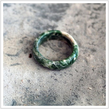 Tree Agate / Gemstone / Ring / Healing Stone / Wedding Band / Womens / Yoga / Green White Stone / Carved / N Size / 6 1/2 / Diam 17.3mm