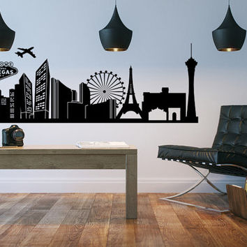 Las Vegas Skyline, Vegas Skyline Wall Decal, Sin City Wall Decal, Cityscape Wall Decal, Wanderlust Wall Decor, Vegas Dorm Decor
