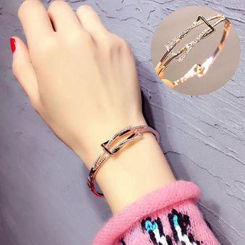 VLX2WL Stylish Shiny Jewelry New Arrival Diamonds Couple Fashion Ring Simple Design Bangle [10399363988]