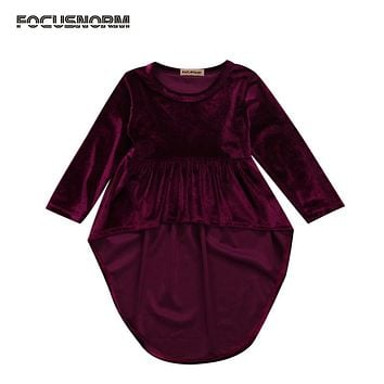 Baby Girls Retro Dresses 2017 Hot Sale Dresses Cute Baby Girls Kids Toddler Asymmetrical Hem Dress Autumn Tops Clothes Vintage
