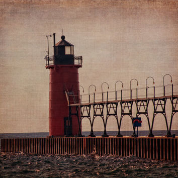 Lake Michigan Fine Art Photography South Haven Michigan Picture Lighthouse Nautical Print Cabin Decor Lake House Beach House Decor Midwest