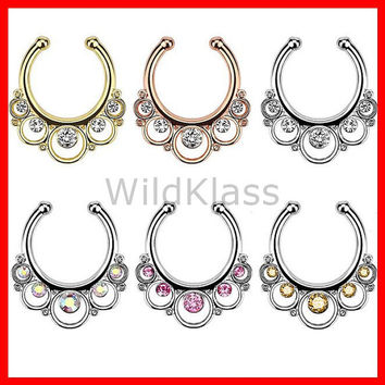Floral Round with Gems Non-Piercing Septum Hanger Fake Septum Ring Faux Nose Ring Rose Gold Steel Gold Sold by Piece