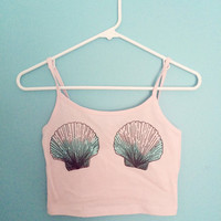 Womens pink mermaid shell crop tank top tumblr boho vintage retro fashion