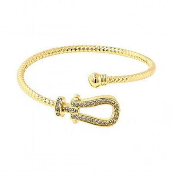 Gold Layered Individual Bangle, Belt Buckle and Ball Design, with Cubic Zirconia, Golden Tone