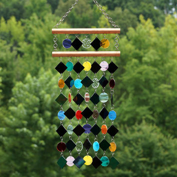Stained Glass - Colored Glass - Wind Chimes - Sun Catcher - OOAK - Checkerboard