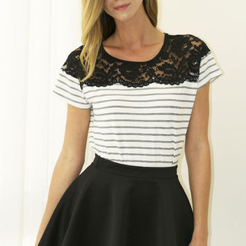 All About That Lace Striped Tee - White