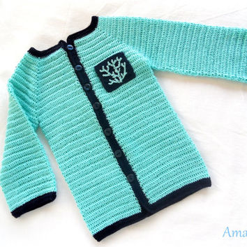 Cotton Sweater Baby Boy Crochet Turquoise Navy Blue Cardigan