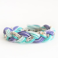 Friendship bracelet, lilac and mint bracelet with rhinestone chain, purple and mint braid bracelet
