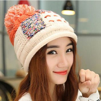 ESBU3C Korean knitted wool hat women thickening warm winter cap ball beanies Hemp flowers patchwork color Pompom hats Q598