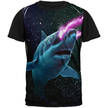 DCCKJY1 Galaxy Great White Shark Laser Beams All Over Mens Black Back T Shirt