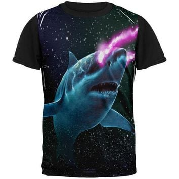 LMFCY8 Galaxy Great White Shark Laser Beams All Over Mens Black Back T Shirt