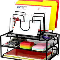 DecoBros Mesh Desk Organizer with Double Tray and 5 Stacking Sorter Sections ...