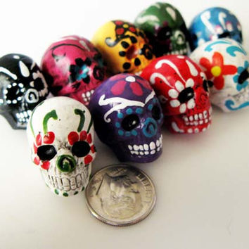 10 Large Sugar Skull Beads - ceramic, skull, skulls, peruvian, day of the dead, dia de los muertos, halloween - LG600