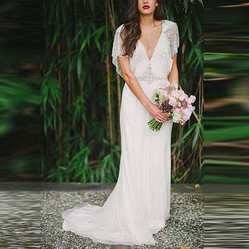 Boho A Line Wedding Dresses For Bohemian Grecian Goddess Brides Retro Beach Summer Backless Crystal Bridal Gowns 2016