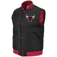 Chicago Bulls Black Mitchell & Ness Free Agent Front Snap Vest