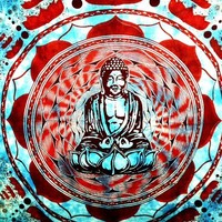 Buddha in Lotus Tapestry Blue - mellow mood