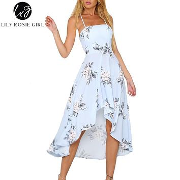 Lily Rosie Girl Halter Strapless Floral Print Blue Women Dresses 2018 Summer Party Sexy Backless Boho Beach Dress Ladies Vestido