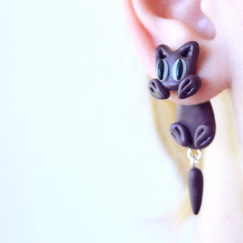 purple cat ear jackets,double sided earrings,front back cuff,unique crawler,two part animal dangling,polymer clay post,clinging fake gauge