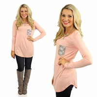 Casual Glamour Top in Peach