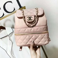 Chanel Popular Women Casual Zipper Shoulder Bag School Bag Leather Backpack Pink I-AGG-CZDL