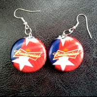 Bottle Cap Earrings Budweiser 4th of July Red White and Blue Handmade Rockabilly-Girl