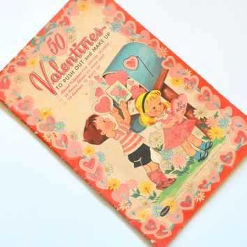 Adorable Vintage Book of Valentine's Cards, Push Out Cards with Cut Out Envelopes, Flocked Cover, 1950s