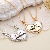 1 Set Best Friend Necklace Pendant Heart Silver Rhinestone BFF Friendship Half a Person Necklace for Men Women Fashion Jewelry