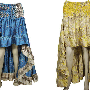 Sundance Love Recycled Vintage Sari 2pc Hi Low Skirt Gypsy Fashion Ruffle Flirty Flare Summer Skirts S/M