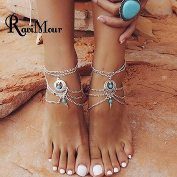 Ravimour Silver Barefoot Ankle Bracelets