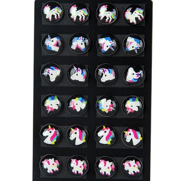 12 Pairs Cute Kids Baby Stud Earrings Sets Women Small Unicorn Lovely Animal Horse Studs children brincos Jewelry