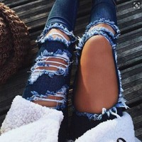 ONETOW Ripped Fashion Jeans