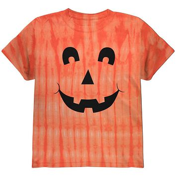 Halloween Jack-O-Lantern Excited Face Tie Dye Youth T-Shirt