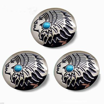 3PCS Turquoise Tribal Metal Round Concho Biker Decorative Button - Screw Back
