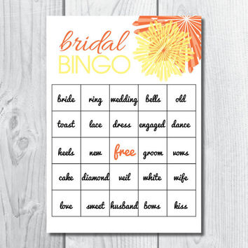 Bridal Shower Bingo Game Personalized & Custom Made PDF
