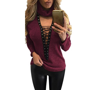 Women Sweater Sexy Lace Up Casual Loose Top Criss Cross Top Bandage Knitwear Sexy Jumper Pullover Outwear LJ5761M