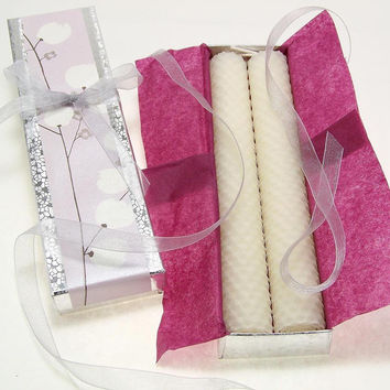White Beeswax Candle Taper Pair in Gift Box