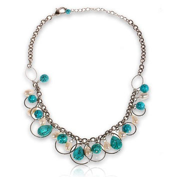 Turquoise and Faux Pearls Necklace Neck Chain Neck Ornament